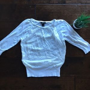 WHBM White Lace Sweater M